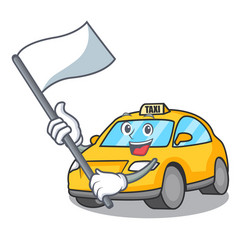 With flag taxi character mascot style vector