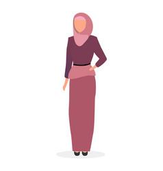 Woman in hijab flat saudi arabian girl wearing vector