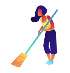 woman with broom isometric 3d vector image