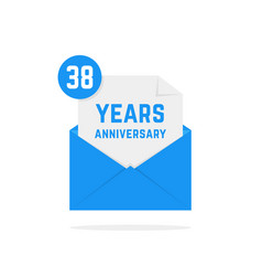 38 years anniversary icon in blue open letter vector image vector image