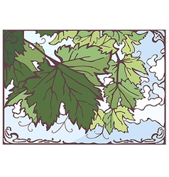 Bunch of grape leaves hand drawn vector image