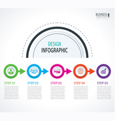 business timeline infographics with 5 circles vector image vector image