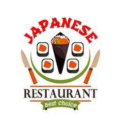 Japanese food restaurant icon Best Choice label vector image vector image