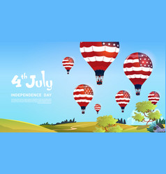 United states flag colored air balloons flying in vector