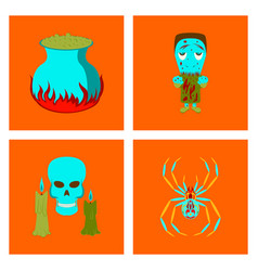 Assembly flat potion cauldron zombie men spider vector