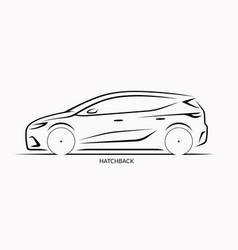 car silhouette side view of hatchback vector image