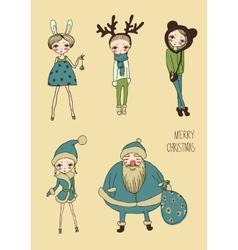 christmas funny girls set vector image