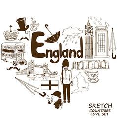 English symbols in heart shape concept vector image