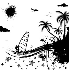 isolated summer background with palm tree dolphin vector image vector image