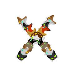letter x cat font pet alphabet symbol home animal vector image