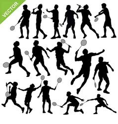 Men silhouettes play Badminton vector image