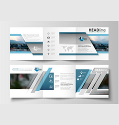 set of business templates for tri-fold brochures vector image