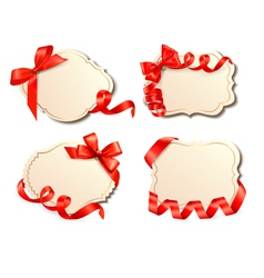 set of old labels with red bows and ribbons vector image vector image