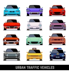 Urban traffic vehicles car icons in flat style vector image