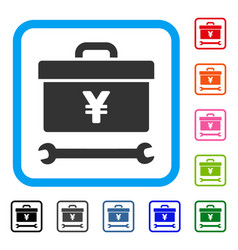 yen toolbox framed icon vector image vector image