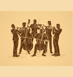 orchestra player group of musician vector image vector image