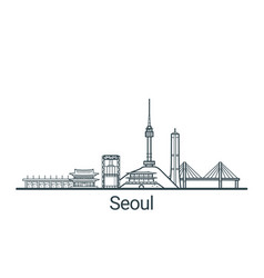 outline seoul banner vector image vector image