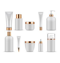 plastic white blank bottles and tubes for vector image vector image