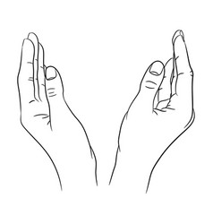 two womens hands apart from black contour vector image