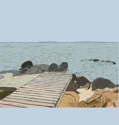 Wonderful sea view pier sketch wooden port sea vector