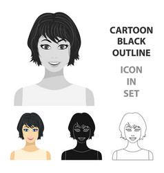 black hair woman icon in cartoon style isolated on vector image vector image