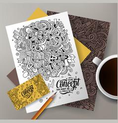 cartoon doodles idea corporate identity set vector image