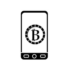 contour smartphone with bitcoin currency symbol vector image vector image