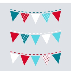 Cute Christmas bunting or flags - red and blue vector image vector image