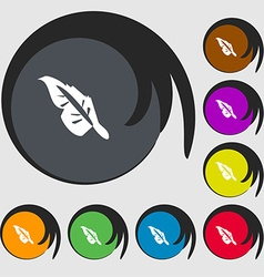 Feather icon sign Symbols on eight colored buttons vector image vector image
