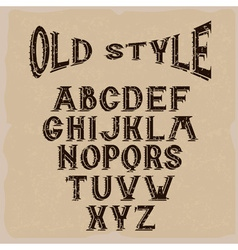 old style grunge alphabet for labels vector image vector image