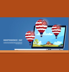 united states flag colored air balloons flying vector image