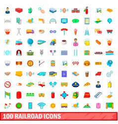 100 railroad icons set cartoon style vector