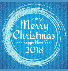 2018 blue and white card with merry christmas vector image