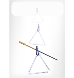 A Musical Meltal Triangle with White Banner vector image vector image