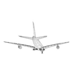 Airplane in wire-frame style vector