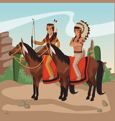 american indian warriors tribe vector image