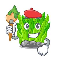 Artist green seaweed in cartoon shape vector