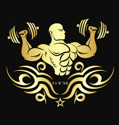 Athlete with dumbbells gold color silhouette vector