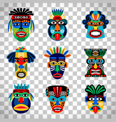 Aztec mask set on transparent background vector