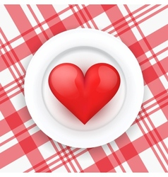Background white plate with realistic heart vector