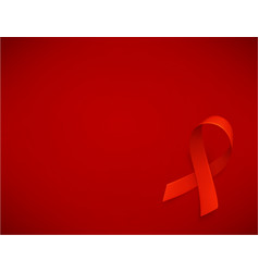 Background with realistic red ribbon world aids vector