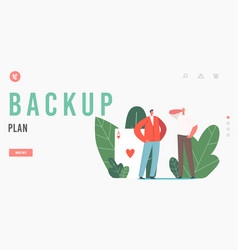 Backup plan landing page template cheating trick vector