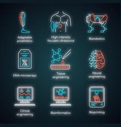 Bioengineering neon light icons set biotechnology vector