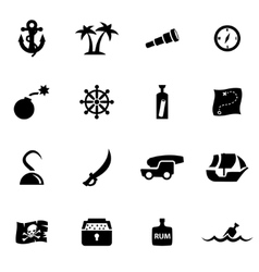 black pirate chart icon set vector image