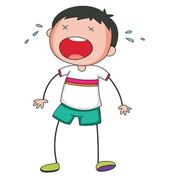 Boy standing alone crying vector