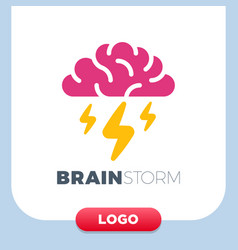brain logo with thunderbolt design layout vector image