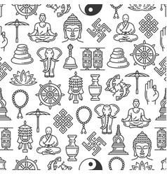 Buddhism religion seamless pattern background vector