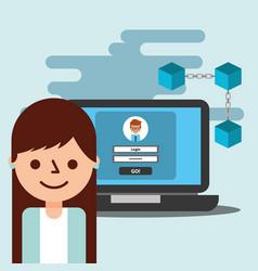 business woman avatar laptop wallet virtual vector image