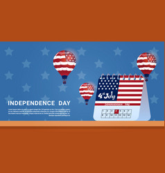 calendar 4 july united states independence day vector image