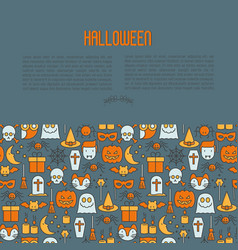 cartoon halloween concept with thin line icons vector image